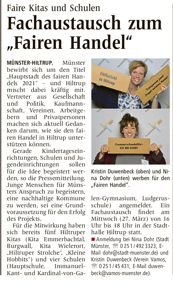 Vorbericht zum Fachaustausch zum Fairen Handel in Hiltrup.